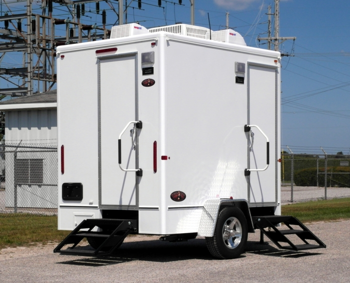 Small, One Stall Restroom Trailer Rentals With Running Water, Heating & Air Conditioning